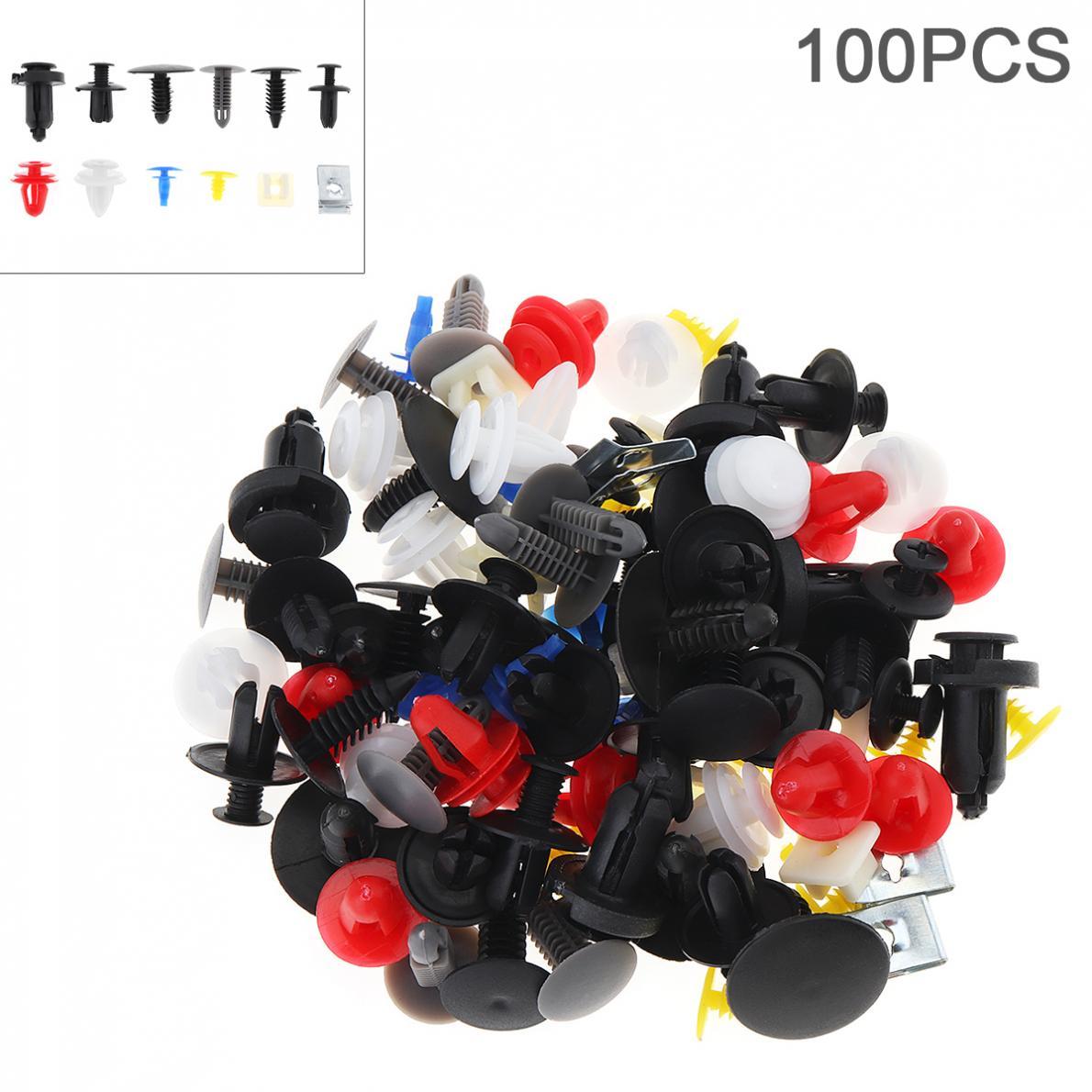 100pcs 12 Kinds Universal Plastic+Metal Car Body Bumper Push Pin Clip Rivets