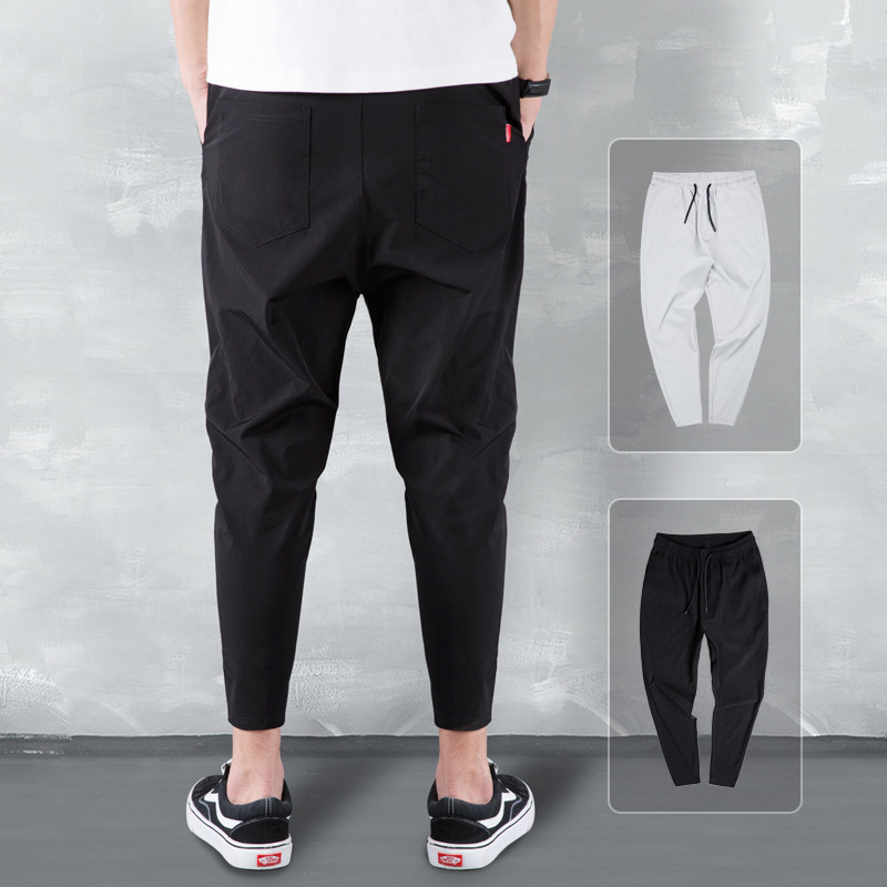 Summer Thin Section Korean-style Trend Ice Silk Ku Male STUDENT'S Capri Pants Loose-Fit Skinny Harem Pants MEN'S Casual Pants