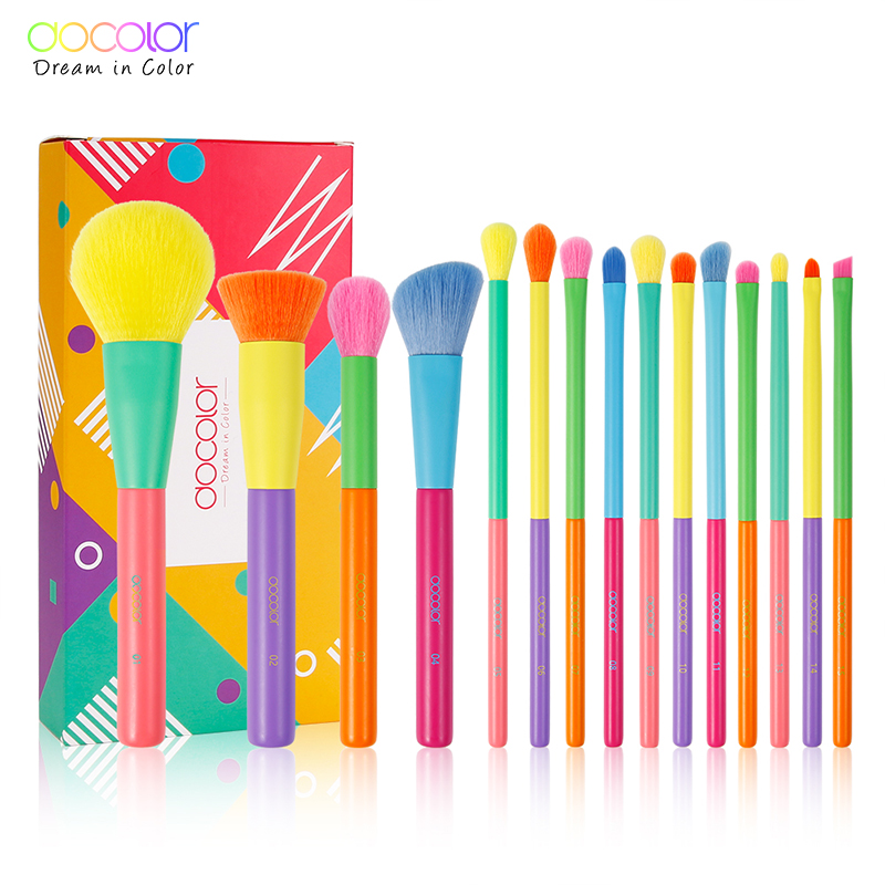 Docolor 15pcs Makeup Brushes Professional Powder Foundation Eyeshadow Make up Brush set Synthetic hair Colourful Makeup Brushes|Eye Shadow Applicator| - AliExpress