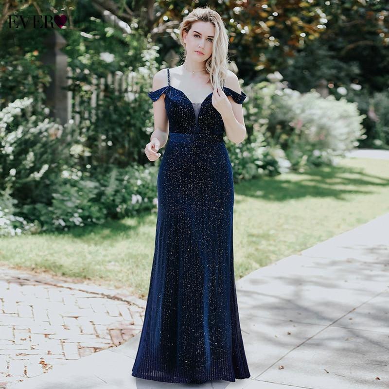 Sparkle   Evening     Dresses   Long Ever Pretty A-Line Double V-Neck Spaghetti Straps Elgant Formal   Dresses   For Party Lange Jurk 2019