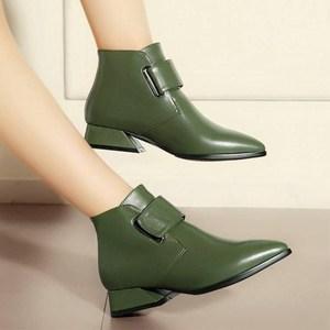 Image 3 - รองเท้าผู้หญิง 2020 ฤดูหนาวหรูหราแบรนด์ Retro สีเขียวผู้หญิงข้อเท้ารองเท้าบูทรองเท้าผู้หญิง PU รองเท้าหนังรองเท้าผู้หญิง Botines Mujer