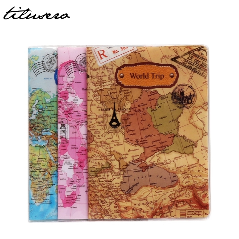 RFID World Trip Map Travel Passport Covers PVC Leather ID Card Bag Passport Holder Passport Wallets F056