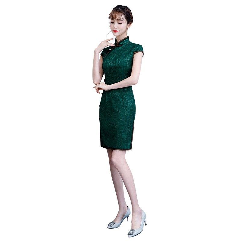 Green Summer Lace Embroidery Cheongsam Elegant Women' S Handmade Button Dress Short Sleeve Knee Length Sexy Short Dress M-3XL