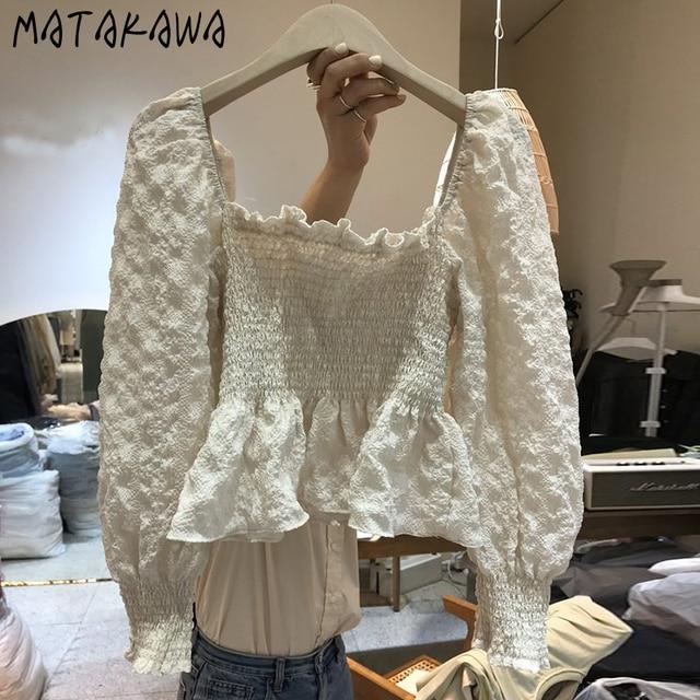 MATAKAWA Elastic Slim Backless Bottoming Shirt Korea Square Neck Puff Sleeves Blusas Mujer De Moda Pleated Blouse Women 3