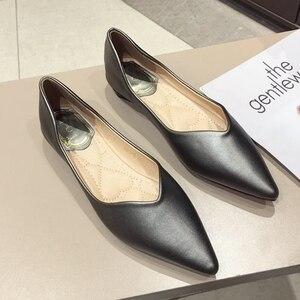 Image 3 - 2020 najnowszy szary podstawowe damskie płaski baleriny buty szpiczasty nosek wiosna jesień kobieta mokasyny na co dzień miękkie panie pracują pojedyncze buty