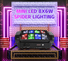 4шт% 2Flots Party настроение свет Led 8 Eyes Spider 8x6w RGBW 4in1 Beam Moving Head Light DMX512 For Home Party DJ Disco Stage Effect