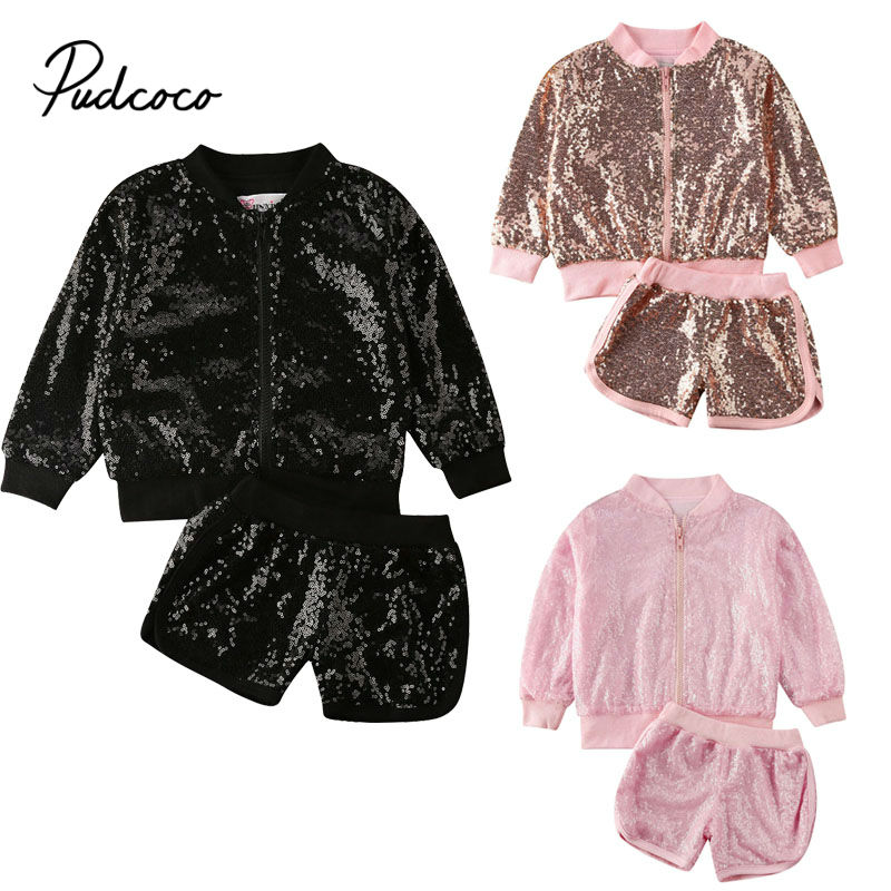 Pudcoco Girls Kids 2020 Spring Winter Outfits Sequin Zipper Jackets Coat Tops Shorts Clothes Tracksuit Set Support Wholesale