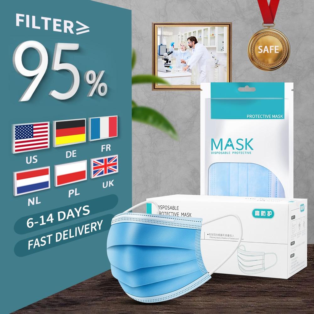 Disposable Mask Face Mask Mascherine Face Masks Anti-Dust Anti Fog Haze Face Mouth Mask 3-layer Filter Mask
