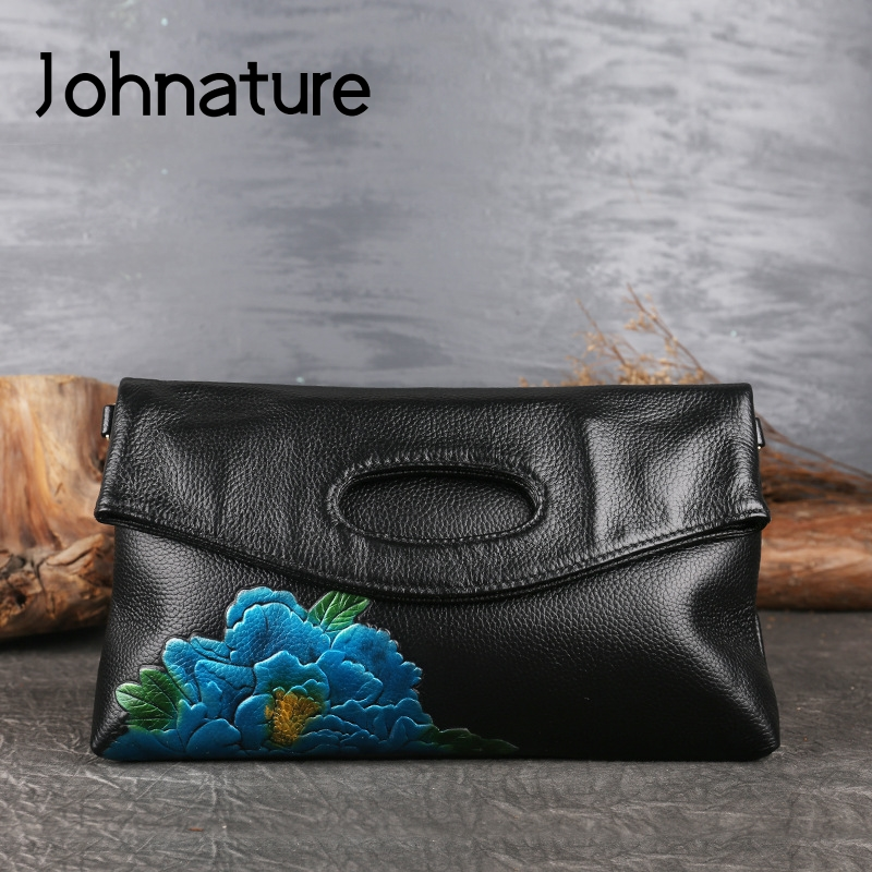 Johnature Retro Genuine Leather Embossed Ladies Hand Bags 2020 New Floral Cowhide Women Clutch Bag Shoulder & Crossbody Bags