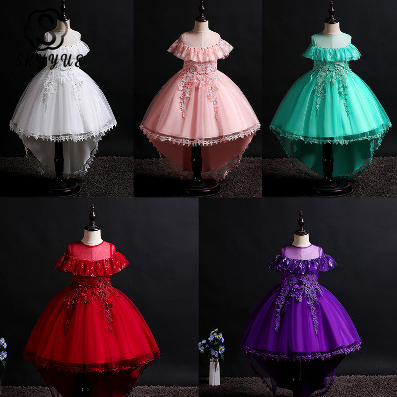 Skyyue Girl Pageant Dress Lace Ruffles Crystal Tulle Flower Girl's Dresses For Wedding O-neck Bow Communion Gowns 2019 736