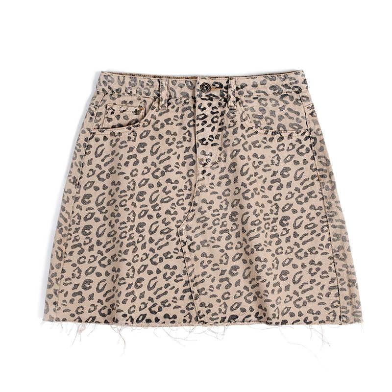 Okuohao Denim jupe taille haute a-ligne Mini jupes femmes 2019 été automne nouveautés unique Ms léopard jupe Style Saia jean
