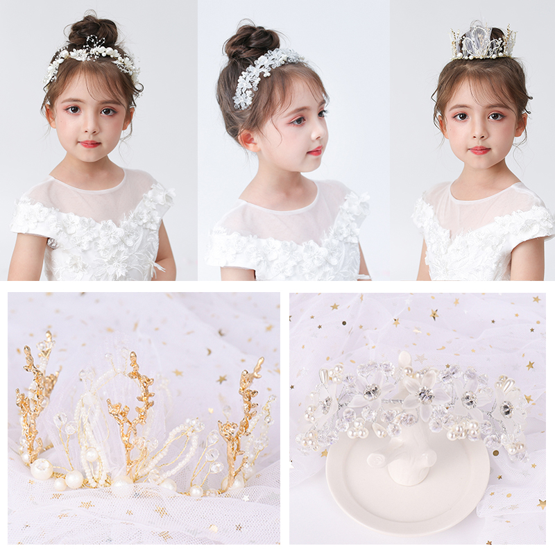 YYOUFU Fashion White Flower Wreath Girl Headband Hair Jewelry Pearl Flower Kids Tiaras Headpiece Piece Accessories