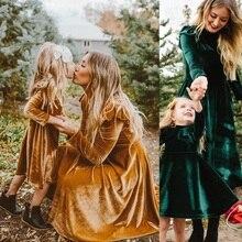 Осеннее платье для мамы и дочки платья с длинными рукавами для мамы и меня одинаковые комплекты для семьи платье для мамы и ребенка