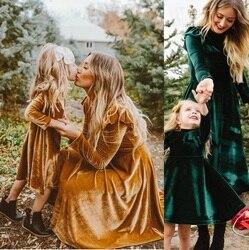Mommy and me outono mãe filha vestido completo manga vestidos de roupas da família roupas combinando olha mãe mãe e bebê menina vestido