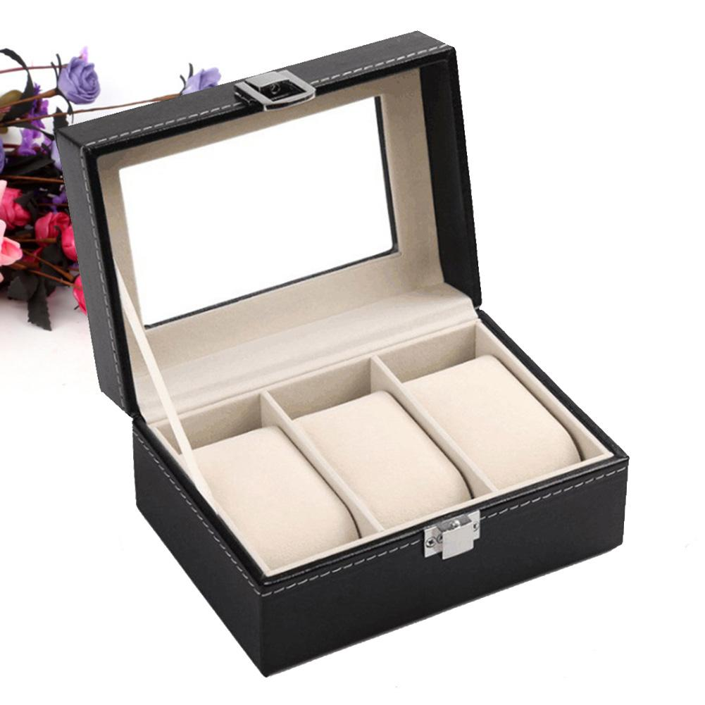 Watch Box Faux Leather Storage Case Gift Jewelry Display Boxes High End Faux Leather Organizer 3 Slots Grids Watches Jewelry Box