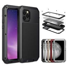 Armor-funda de aluminio y Metal para iPhone, carcasa protectora completa 360, para iPhone 12, 11Pro, XS, MAX, XR, X, 6, 7, 8Plus, resistente, a prueba de golpes