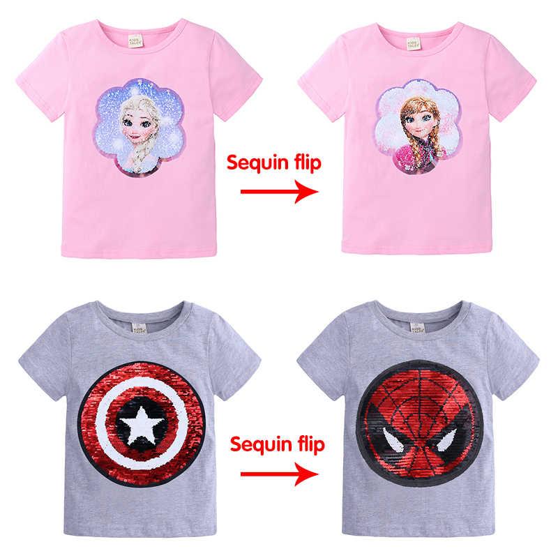 דיסני מוצק צבע flip פאייטים אנה אלזה קפוא/ספיידרמן/קפטן אמריקה וילדה כותנה קיץ ילד קריקטורה חולצה