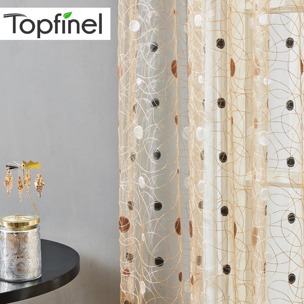 Topfinel Window Treatment Modern Bird Nest Tulle Sheer Curtains For Kitchen Living Room The Bedroom Elegant Polyester Curtains