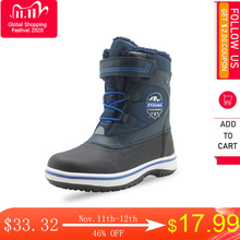 Apakowaボーイズ冬のブーツフロスティ暖かいウールライニング雪のブーツ子供軽量防水寒さノンスリップアウトドアシューズ