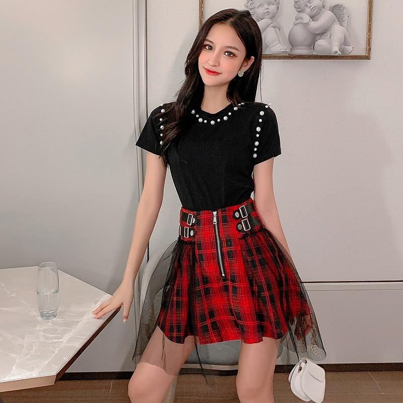 Korean Ulzzang Streetwear Women's Suits Pearls Beading Black Short Sleeve T Shirt + Mesh Spliced Red Plaid Skirt 2 Piece Set