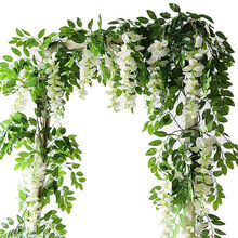 7ft 2m Flower String Artificial Wisteria Vine Wedding Garland Plants Foliage Outdoor Home Trailing Fake Hanging Wall
