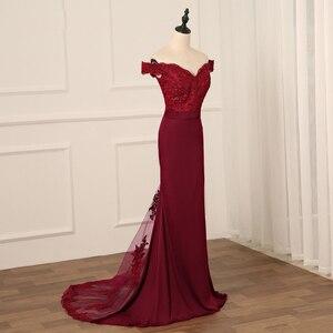 Image 4 - Сексуальное бордовое вечернее платье Jiayigong, Длинные вечерние платья с открытой спиной, кружевное платье Русалка с бисером для невесты