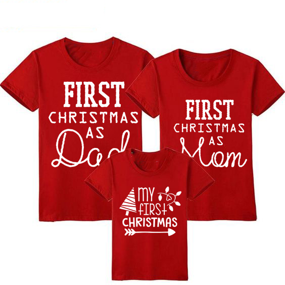 1pcs First Christmas As Mom Dad T-shirt Funny Family Matching Christmas Tshirt Mommy Daddy Baby Short Sleeve Red T Shirt Clothes