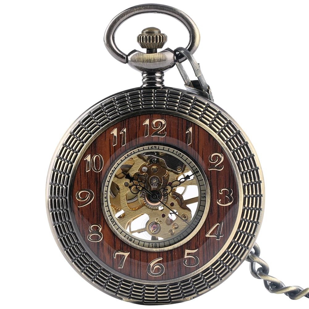 Luxury Wood Bronze Mechanical Hand Winding Pocket Watch Roman Numerals Display Dial Half Hunter Manual Pocket Pendant Clock