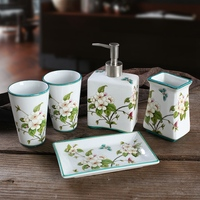 Creative Gift Chinese Ceramic Bathroom Set Of 5 Toothbrush Tube Cup Hand Sanitizer Bottle Soap Dish