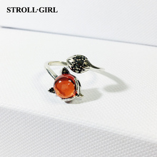 StrollGirl Hot Sale vintage silver 925 red stone fox Finger rings open size for women Fashion Jewelry on sale free shipping