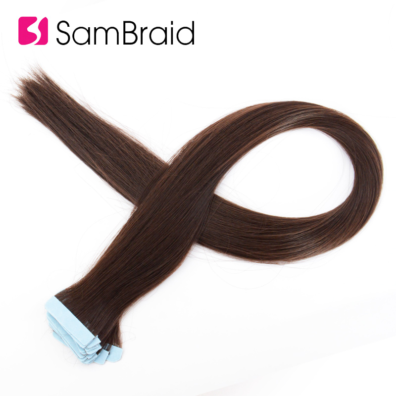 SAMBRAID 22 Inch Straight Hair 40 Pieces/pack Skin Weft Synthetic Hair Double Sided Tape Hair Extensions For Women