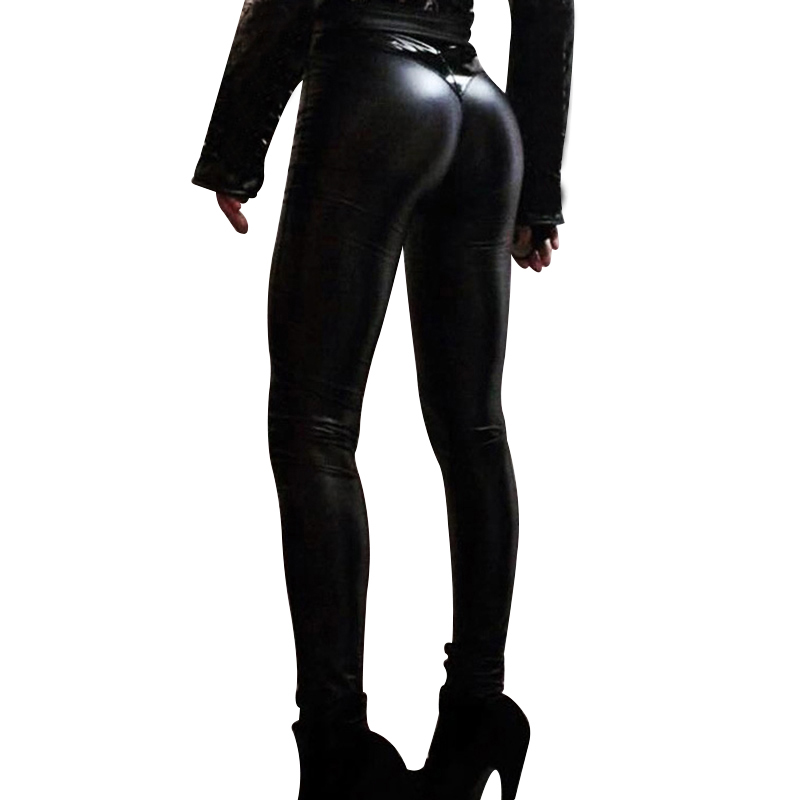 Women Punk Bodycon PU Leather Pants Push up Black High Waist Pants Female Trousers GDD99
