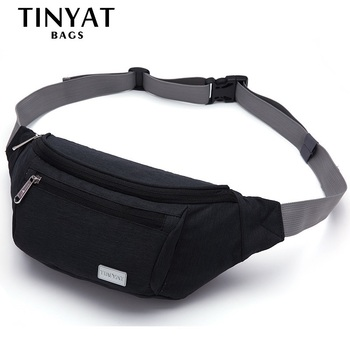 TINYAT Waist  Bag High Quality Chest Bag Three Zippers Casual Functional Purse Contrast Color Waist Package for Men & Women Belt