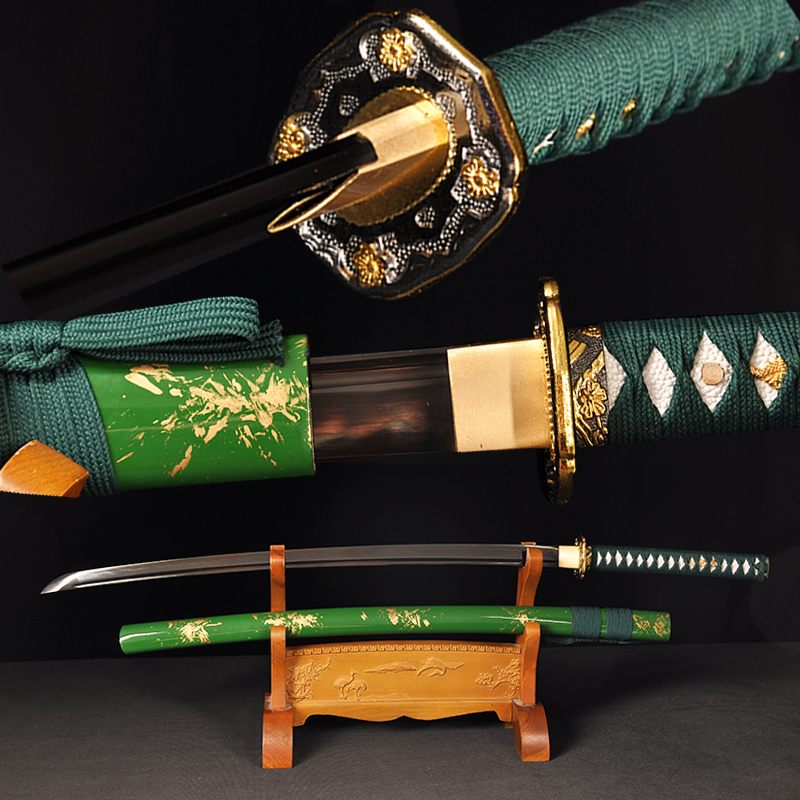 Swords samurai quality Japanese real Katana <font><b>1095</b></font> clay tempered <font><b>steel</b></font> sharp edge with groove light green color scabbard full tang image