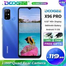 Doogee x96 pro telefone móvel octa-core 13mp quad câmera 5400mah bateria 6.52 hd hd + tela 4gb ram 64gb rom android 11.0 smartphone