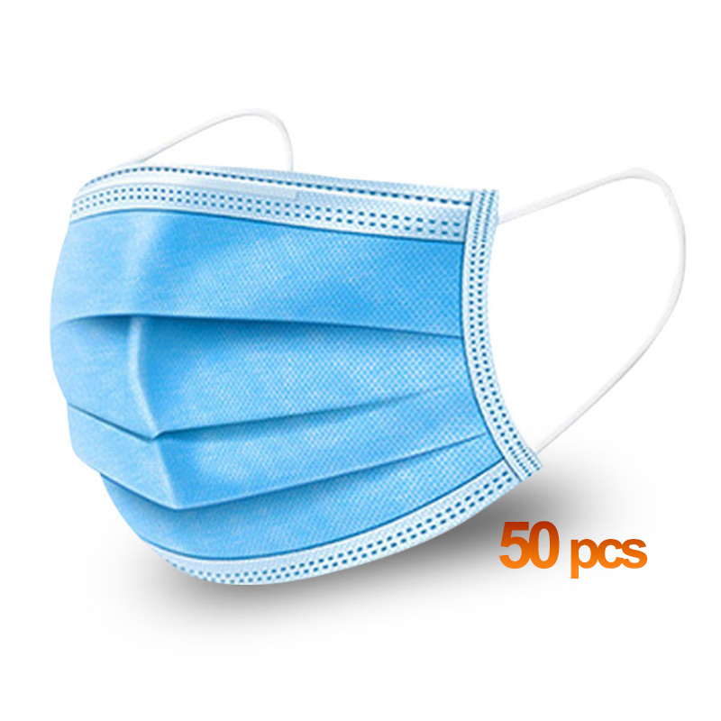 TAMONG HOME 50pcs 3 Layer Non-woven Dust Face Mask Thickened Disposable Mouth Mask