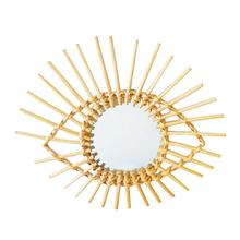 Nordic Wall Hanging Makeup Mirror Rattan Innovative Art Decoration Round Mirrors Bathroom Dressing Decorative Wall Mirror macrame wall hanging mirrors ins nordic wall mirrors hand made wall tapestry home porch mirrors for home makeup bath room