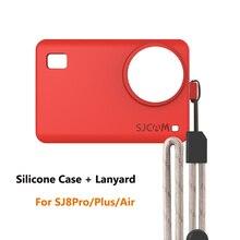 Capa de silicone para sj8 série sj8 pro/plus/protetor de manga de ar e cordão ajustável para sj8 4k acessórios da câmera de ação