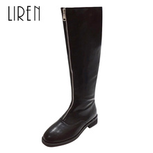 купить Liren 2019 Winter Women Fashion Mid-Calf High Zip Boots Square Toe Low Heels Square Heels Women Sexy Zip Boots Comfortable Shoes по цене 1991.71 рублей