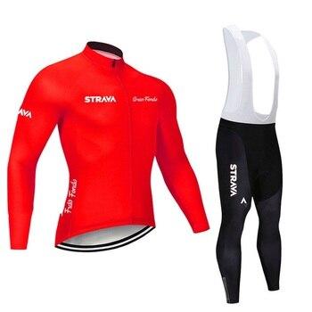2019 strava outono manga longa camisa de ciclismo conjunto bib calças ropa ciclismo roupas de bicicleta mtb camisa uniforme roupas masculinas 27