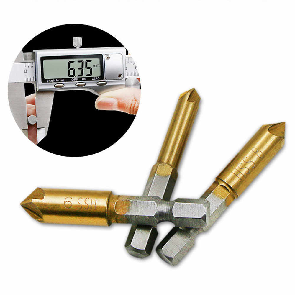 3 Pcs Flute Countersink Bor Bit Set Meja 6-19 Mm Wastafel Talang Cutter Kayu Chamfering Cutter Talang Listrik alat Bor