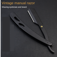 Black Vintage Razor Manual Razor Shaving Razor Eyebrow Trimmer Stainless Steel Razor Barber Knife Holder G1126