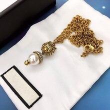 Alta qualty 1:1 luxo retro colares jóias corrente de ouro leão cabeça forma pérola colar presentes para as mulheres acessórios para meninas