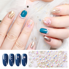 1 BOX 100-300 PCS  Flat Pearls 3D Nail Art Decorations Mixed Different Sizes Colorful DIY Designs Accessories Manicure