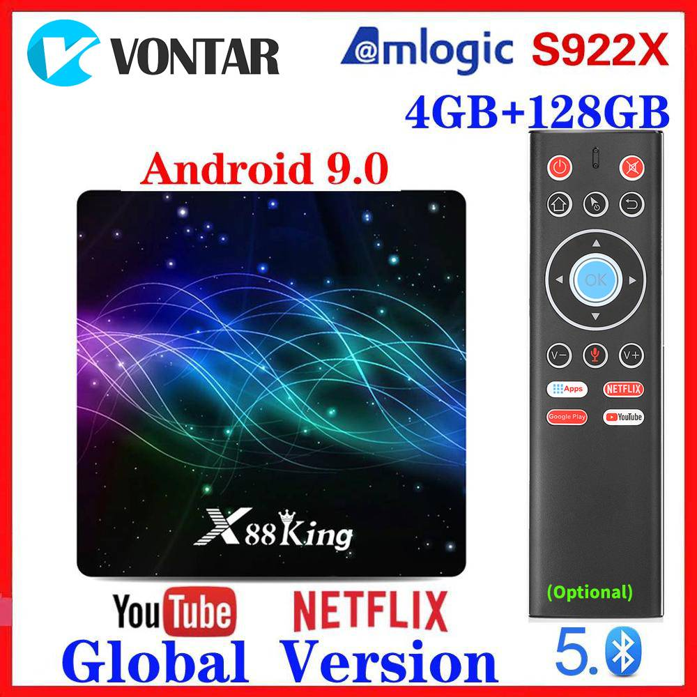 4GB RAM 128G ROM Amlogic S922X TV Box Android 9.0 Dual Wifi BT5.0 1000M 4K 60fps USB3.0 Google Play Store Youtube Media Player