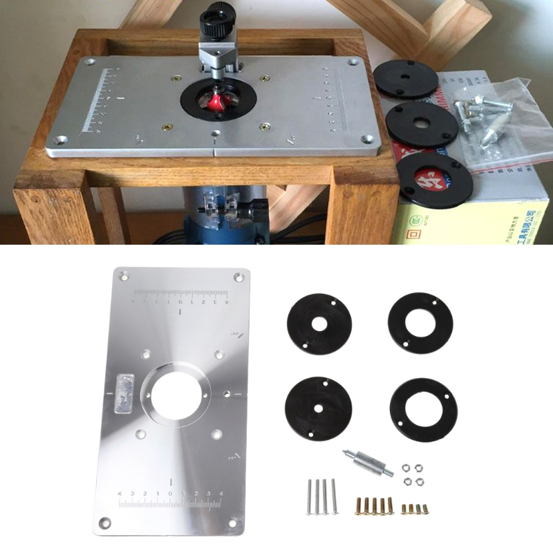 Router Table Insert Plate Woodworking Benches Aluminium Wood Router Trimmer Models Engraving Machine With 4 Rings Tools