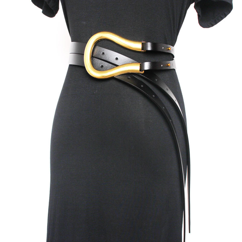 Jin Yellow Lady Waistband Genuine Leather Waist Sealing Various Wearing Methods Cover Exaggerated Belt White Brown Black Colors