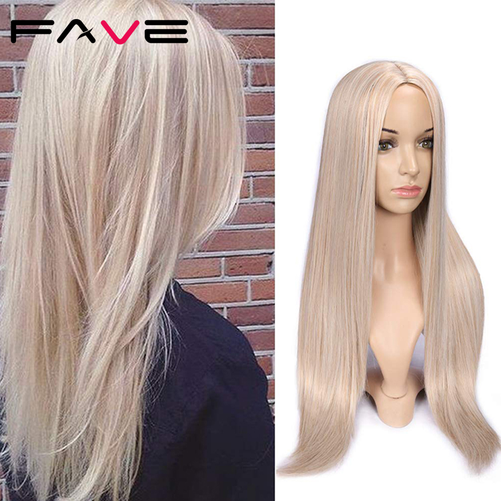 FAVE Long Straight Pure Light Brown Blonde Long Synthetic Wigs for White /Black Women 22 Inch Middle Part Can be Cosplay Wigs