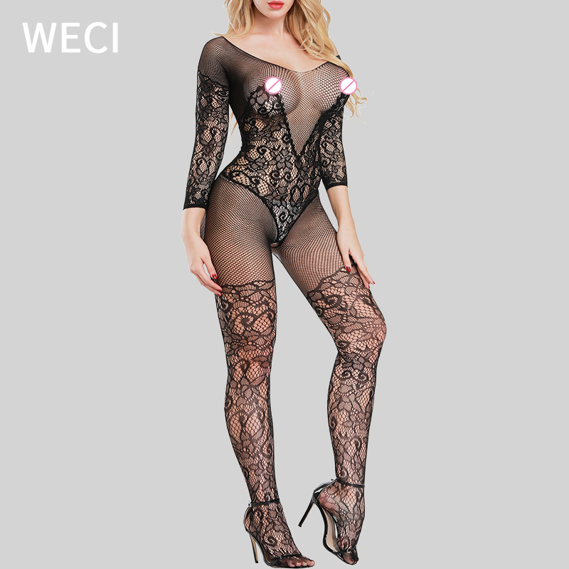 WECI Fishnet Bodysuit Open Crotch Pantyhose Full Body Stockings For Women Mesh Catsuit Sexy Hot Erotic Jumpsuit Female Plus Size