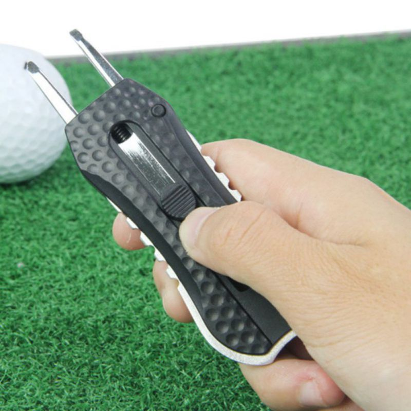 Golf Divot Repair Tool Retractable Plastic Stainless Steel Pitch Cleaner Pitchfork Putting Fork Training Supplies